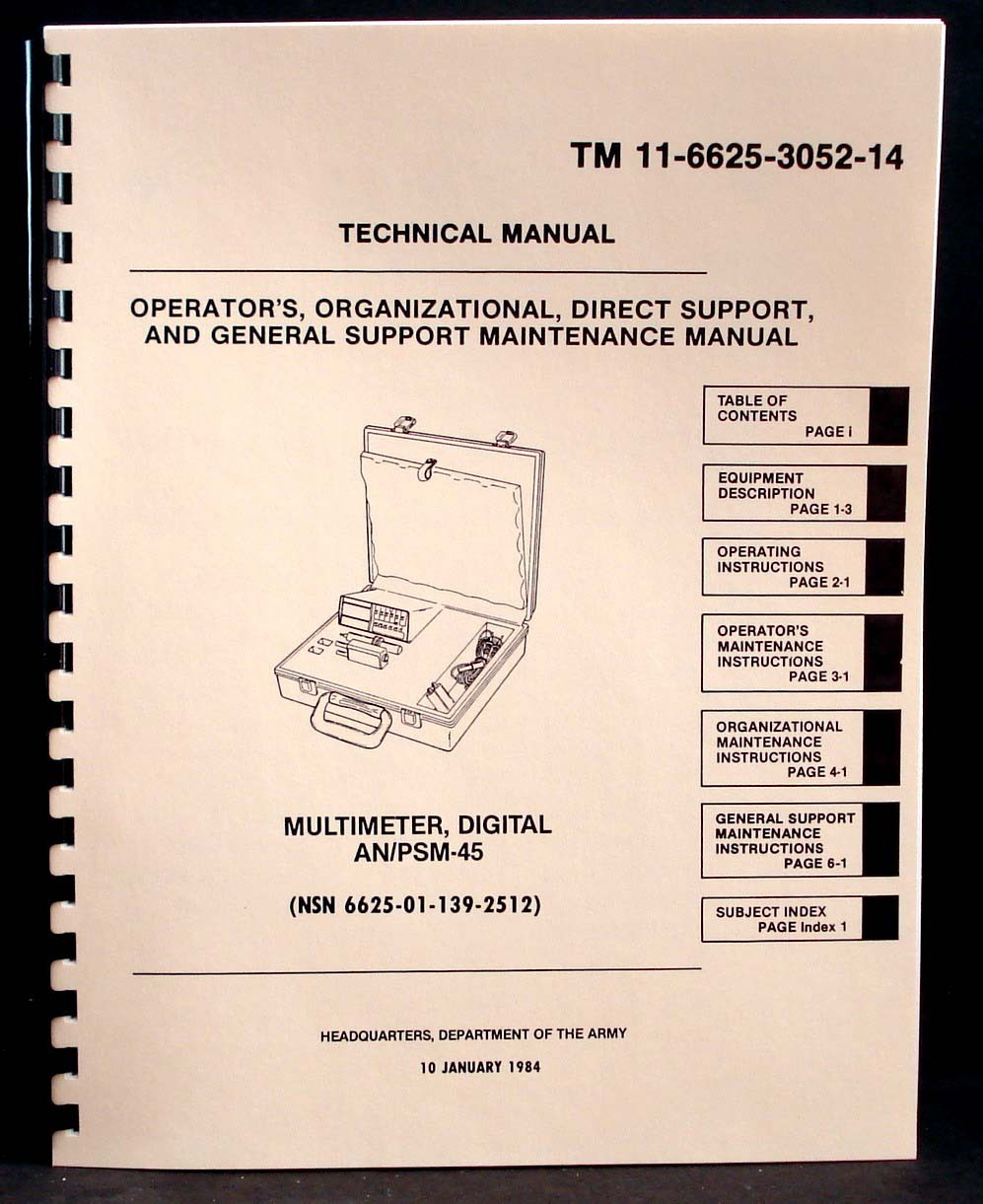 Army Manual Simpson 467 An Psm 45 Digital Multimeter
